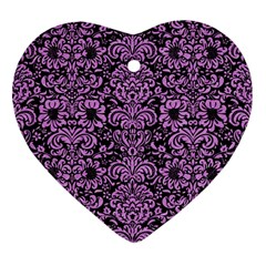 Damask2 Black Marble & Purple Colored Pencil (r) Ornament (heart) by trendistuff
