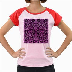 Damask2 Black Marble & Purple Colored Pencil (r) Women s Cap Sleeve T Shirt