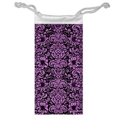 Damask2 Black Marble & Purple Colored Pencil (r) Jewelry Bag