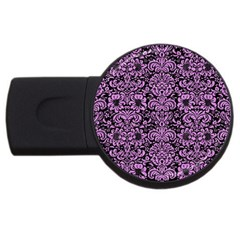 Damask2 Black Marble & Purple Colored Pencil (r) Usb Flash Drive Round (4 Gb) by trendistuff