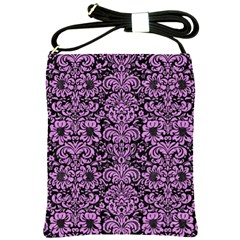 Damask2 Black Marble & Purple Colored Pencil (r) Shoulder Sling Bags by trendistuff