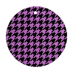 Houndstooth1 Black Marble & Purple Colored Pencil Round Ornament (two Sides) by trendistuff