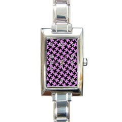 Houndstooth2 Black Marble & Purple Colored Pencil Rectangle Italian Charm Watch by trendistuff