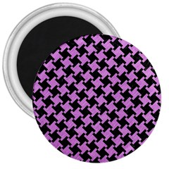 Houndstooth2 Black Marble & Purple Colored Pencil 3  Magnets by trendistuff