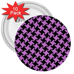 Houndstooth2 Black Marble & Purple Colored Pencil 3  Buttons (10 Pack)  by trendistuff