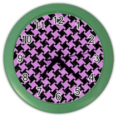 Houndstooth2 Black Marble & Purple Colored Pencil Color Wall Clocks by trendistuff