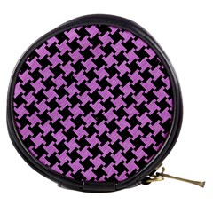 Houndstooth2 Black Marble & Purple Colored Pencil Mini Makeup Bags by trendistuff