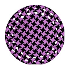 Houndstooth2 Black Marble & Purple Colored Pencil Ornament (round Filigree) by trendistuff