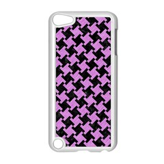 Houndstooth2 Black Marble & Purple Colored Pencil Apple Ipod Touch 5 Case (white) by trendistuff