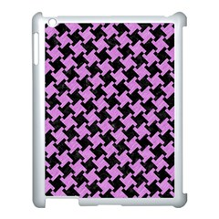 Houndstooth2 Black Marble & Purple Colored Pencil Apple Ipad 3/4 Case (white) by trendistuff