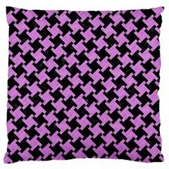 Houndstooth2 Black Marble & Purple Colored Pencil Standard Flano Cushion Case (one Side) by trendistuff