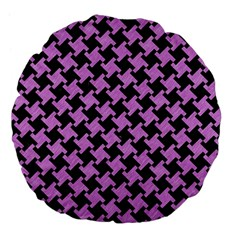Houndstooth2 Black Marble & Purple Colored Pencil Large 18  Premium Flano Round Cushions by trendistuff