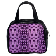 Hexagon1 Black Marble & Purple Colored Pencil Classic Handbags (2 Sides) by trendistuff