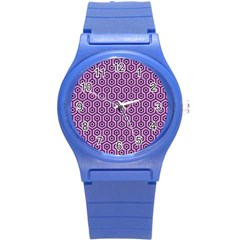 Hexagon1 Black Marble & Purple Colored Pencil Round Plastic Sport Watch (s) by trendistuff