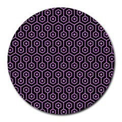 Hexagon1 Black Marble & Purple Colored Pencil (r) Round Mousepads by trendistuff
