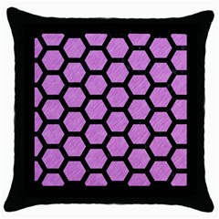 Hexagon2 Black Marble & Purple Colored Pencil Throw Pillow Case (black)