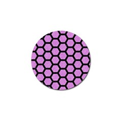 Hexagon2 Black Marble & Purple Colored Pencil Golf Ball Marker (4 Pack) by trendistuff