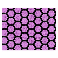 Hexagon2 Black Marble & Purple Colored Pencil Rectangular Jigsaw Puzzl by trendistuff