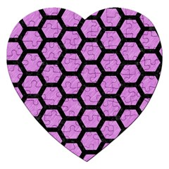 Hexagon2 Black Marble & Purple Colored Pencil Jigsaw Puzzle (heart) by trendistuff