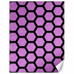 Hexagon2 Black Marble & Purple Colored Pencil Canvas 12  X 16