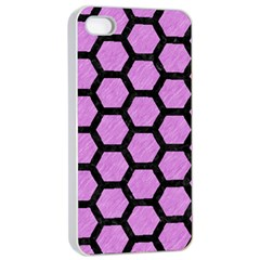 Hexagon2 Black Marble & Purple Colored Pencil Apple Iphone 4/4s Seamless Case (white) by trendistuff