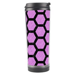 Hexagon2 Black Marble & Purple Colored Pencil Travel Tumbler by trendistuff