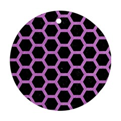 Hexagon2 Black Marble & Purple Colored Pencil (r) Round Ornament (two Sides) by trendistuff