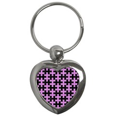 Puzzle1 Black Marble & Purple Colored Pencil Key Chains (heart)  by trendistuff