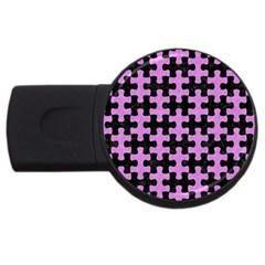 Puzzle1 Black Marble & Purple Colored Pencil Usb Flash Drive Round (2 Gb) by trendistuff
