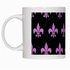 Royal1 Black Marble & Purple Colored Pencil White Mugs by trendistuff