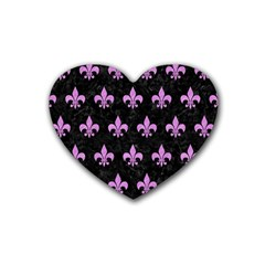 Royal1 Black Marble & Purple Colored Pencil Rubber Coaster (heart)  by trendistuff