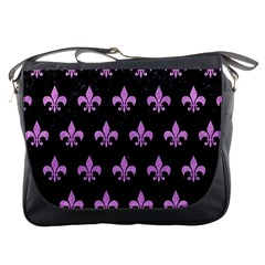 Royal1 Black Marble & Purple Colored Pencil Messenger Bags by trendistuff