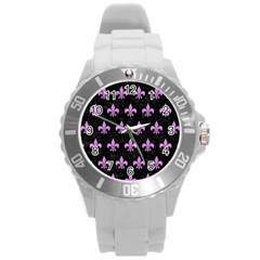 Royal1 Black Marble & Purple Colored Pencil Round Plastic Sport Watch (l) by trendistuff