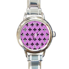 Royal1 Black Marble & Purple Colored Pencil (r) Round Italian Charm Watch by trendistuff