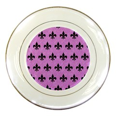 Royal1 Black Marble & Purple Colored Pencil (r) Porcelain Plates by trendistuff