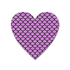 Scales1 Black Marble & Purple Colored Pencil Heart Magnet by trendistuff