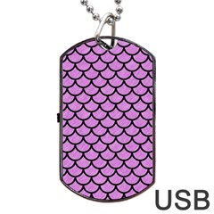 Scales1 Black Marble & Purple Colored Pencil Dog Tag Usb Flash (one Side)