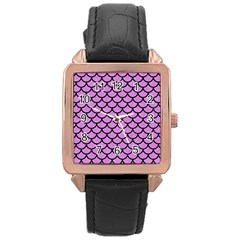 Scales1 Black Marble & Purple Colored Pencil Rose Gold Leather Watch  by trendistuff