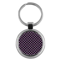 Scales1 Black Marble & Purple Colored Pencil (r) Key Chains (round)  by trendistuff