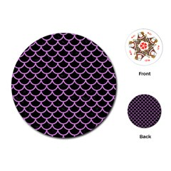 Scales1 Black Marble & Purple Colored Pencil (r) Playing Cards (round)  by trendistuff