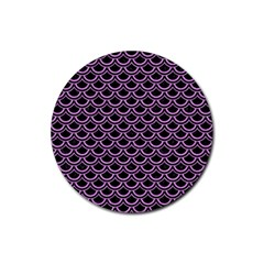Scales2 Black Marble & Purple Colored Pencil (r) Rubber Coaster (round)  by trendistuff