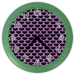 Scales3 Black Marble & Purple Colored Pencil (r) Color Wall Clocks by trendistuff