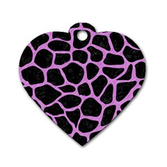 Skin1 Black Marble & Purple Colored Pencil Dog Tag Heart (one Side) by trendistuff