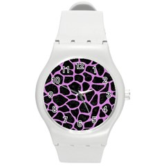 Skin1 Black Marble & Purple Colored Pencil Round Plastic Sport Watch (m) by trendistuff