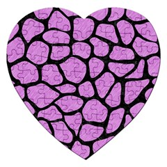 Skin1 Black Marble & Purple Colored Pencil (r) Jigsaw Puzzle (heart) by trendistuff