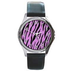 Skin3 Black Marble & Purple Colored Pencil Round Metal Watch by trendistuff