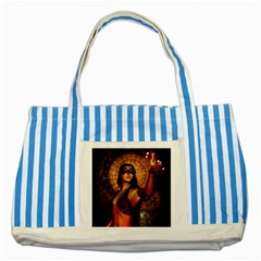 Wonderful Fantasy Women With Mask Striped Blue Tote Bag by FantasyWorld7
