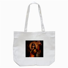 Wonderful Fantasy Women With Mask Tote Bag (white) by FantasyWorld7