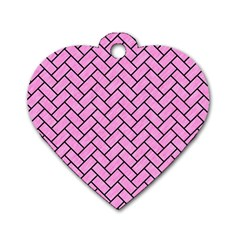 Brick2 Black Marble & Pink Colored Pencil Dog Tag Heart (two Sides)