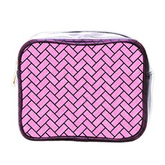 Brick2 Black Marble & Pink Colored Pencil Mini Toiletries Bags by trendistuff